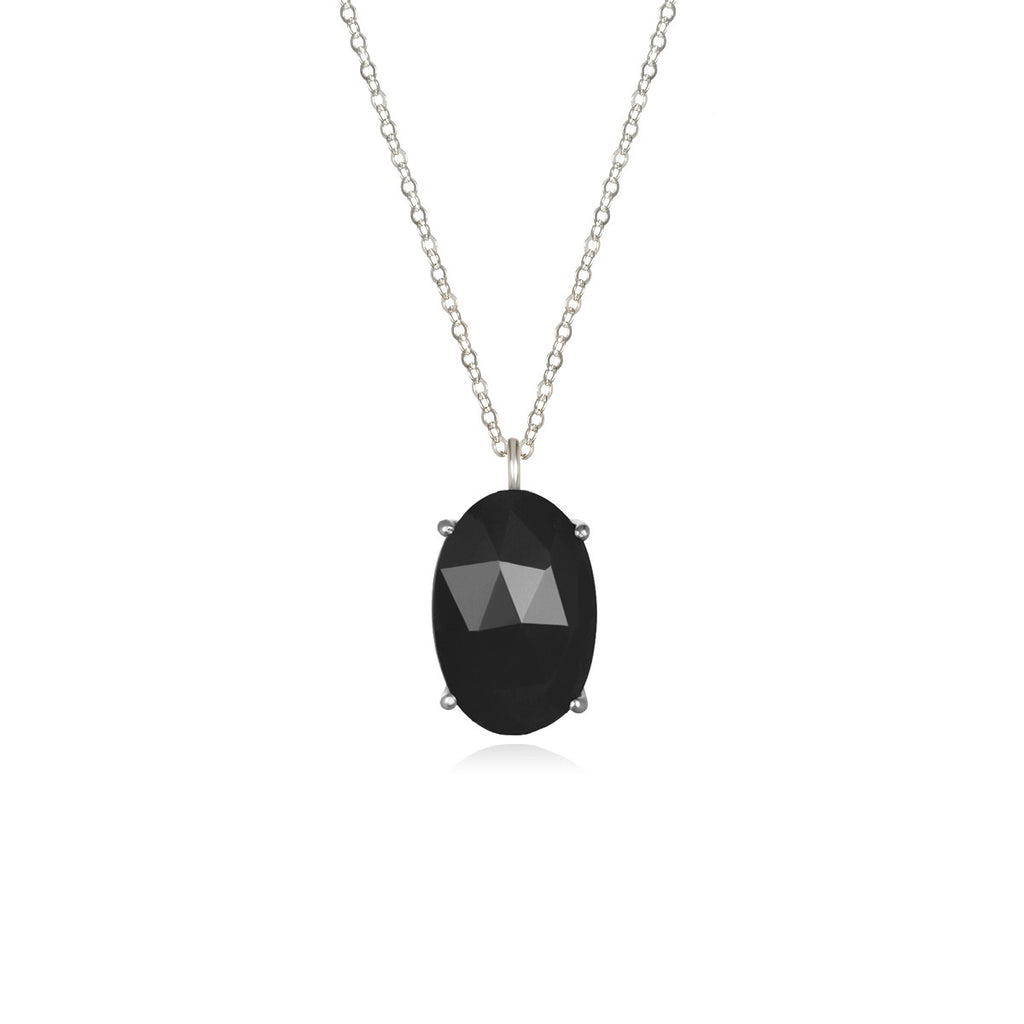 Catalina Single Oval Necklace Black Silver