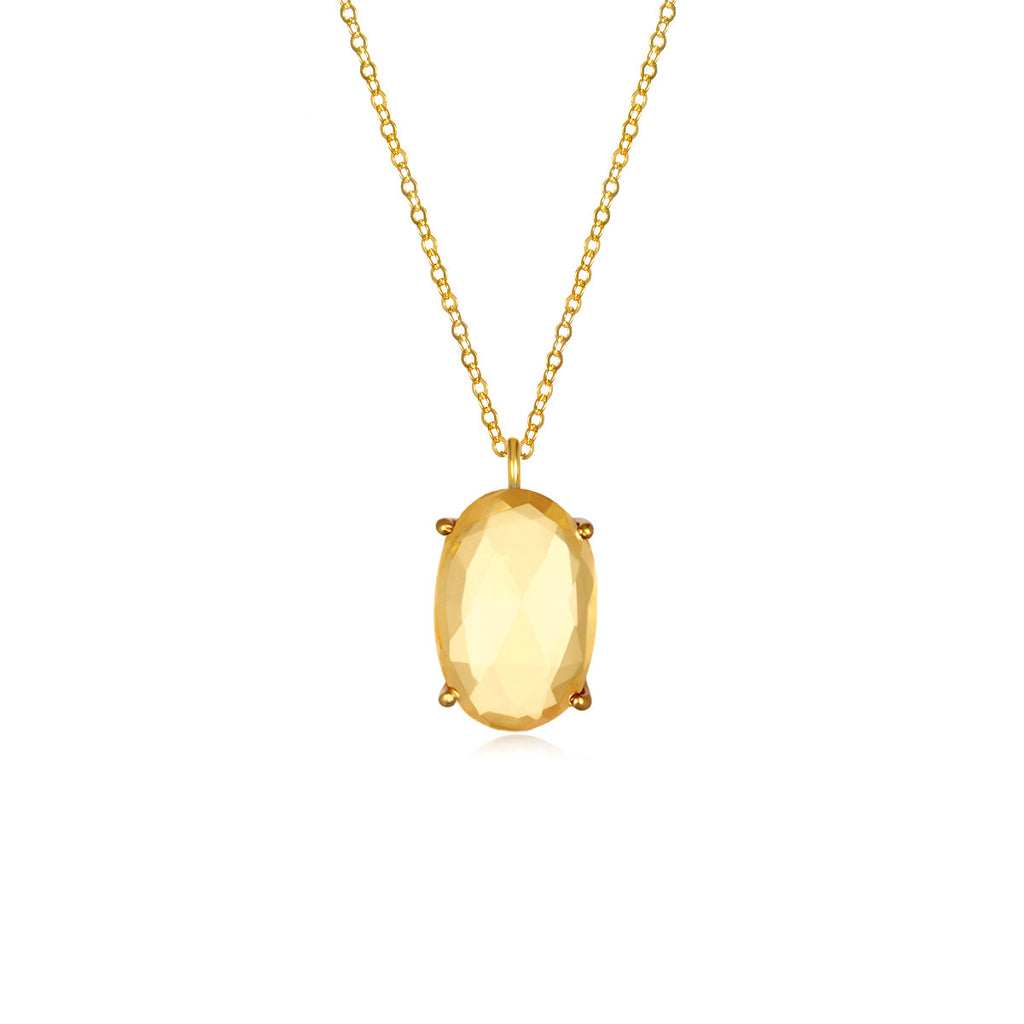 Catalina Single Oval Necklace Citrine Gold