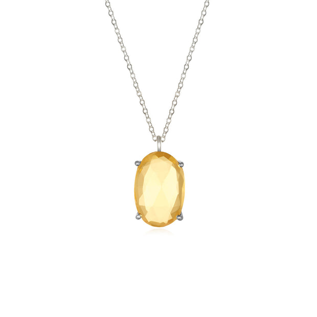 Catalina Single Oval Necklace Citrine Silver