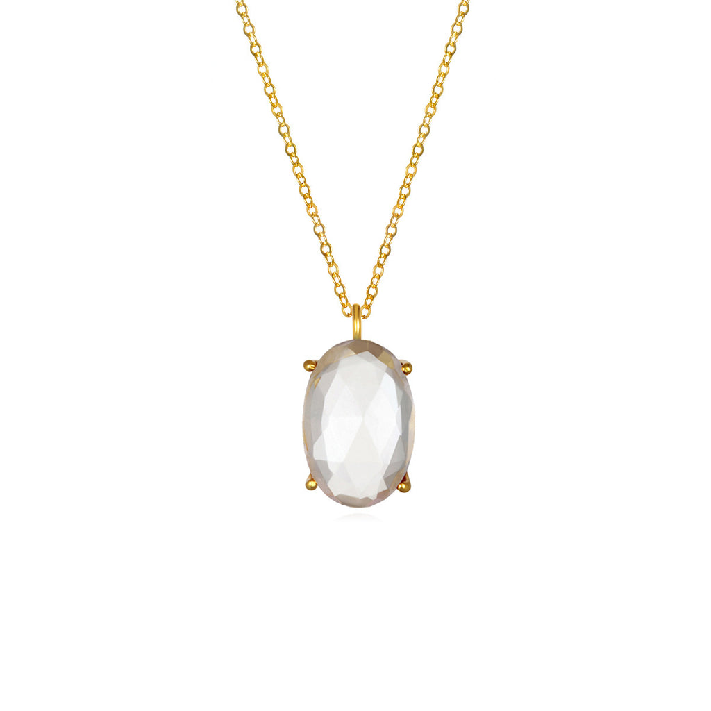 Catalina Single Oval Necklace Clear Gold