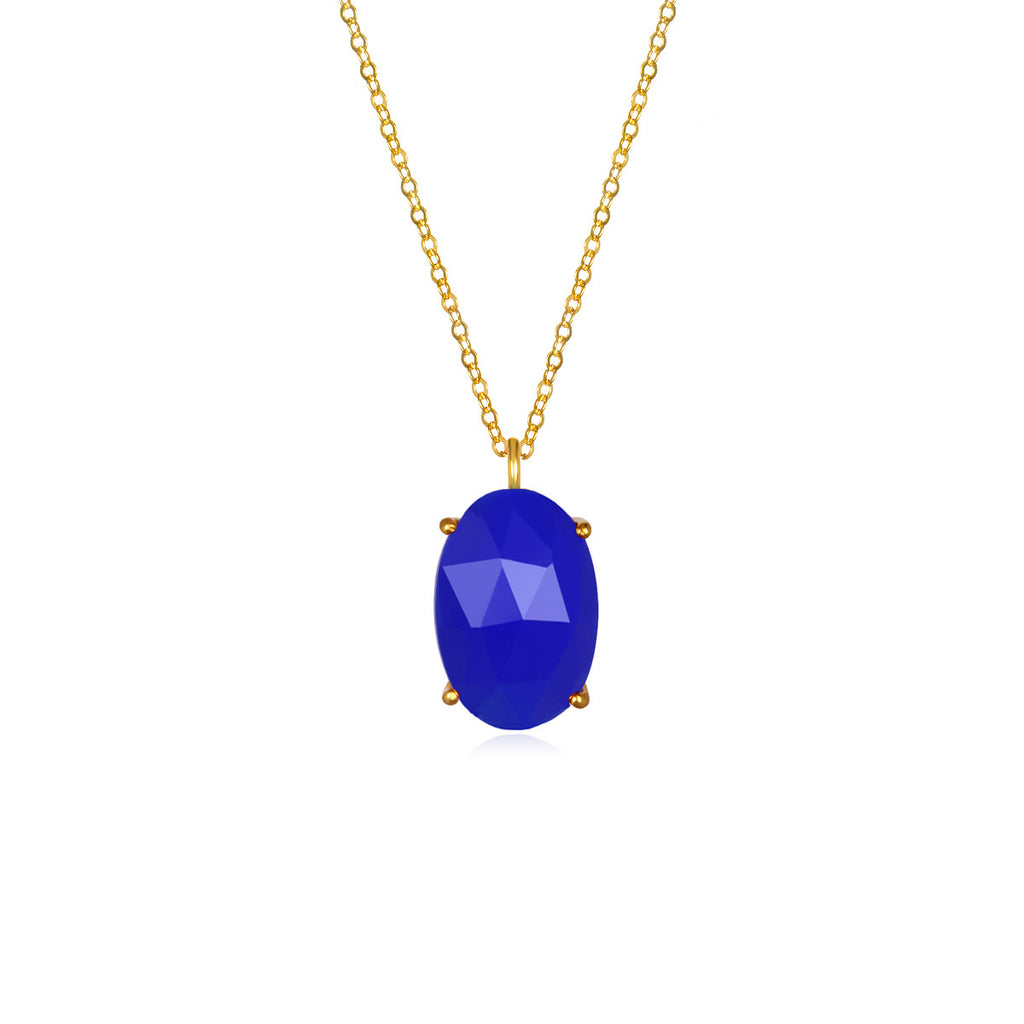 Catalina Single Oval Necklace Dark Blue Gold