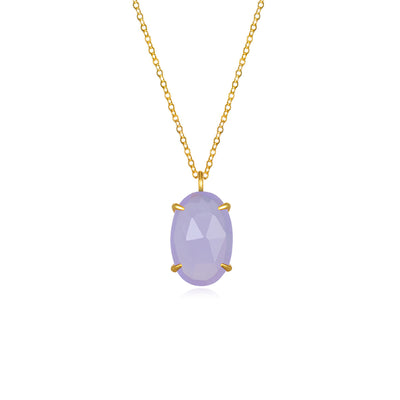 Catalina Single Oval Necklace Light Purple Gold