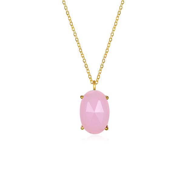 Catalina Single Oval Necklace Pink Peony Gold