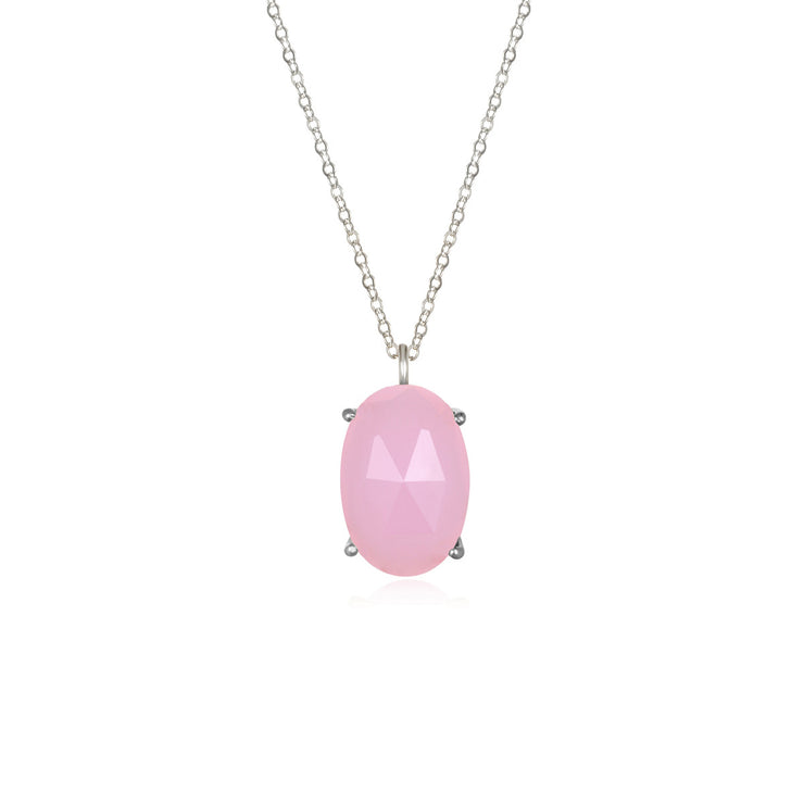 Catalina Single Oval Necklace Pink Peony Silver