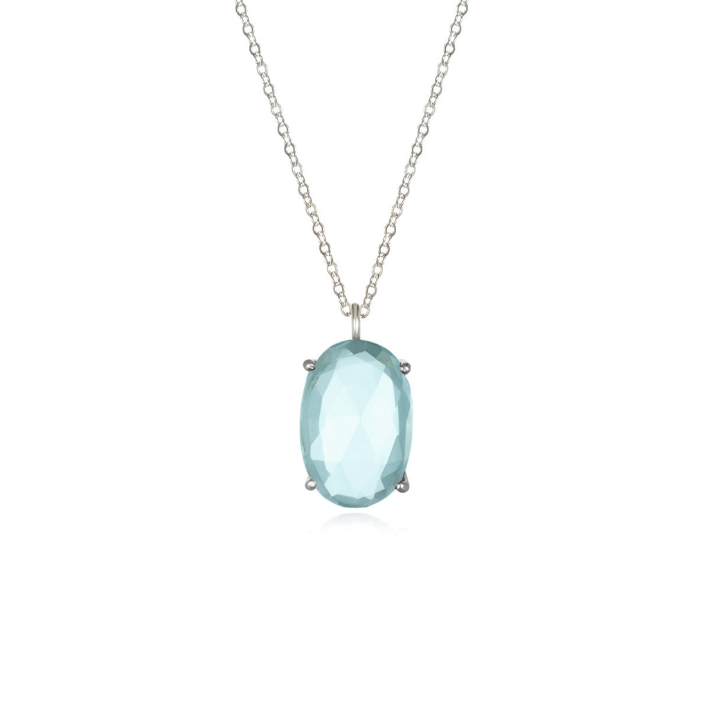 Catalina Single Oval Necklace Sky Blue Silver
