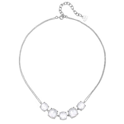 Catalina 5 Cushion Necklace-Clear Silver