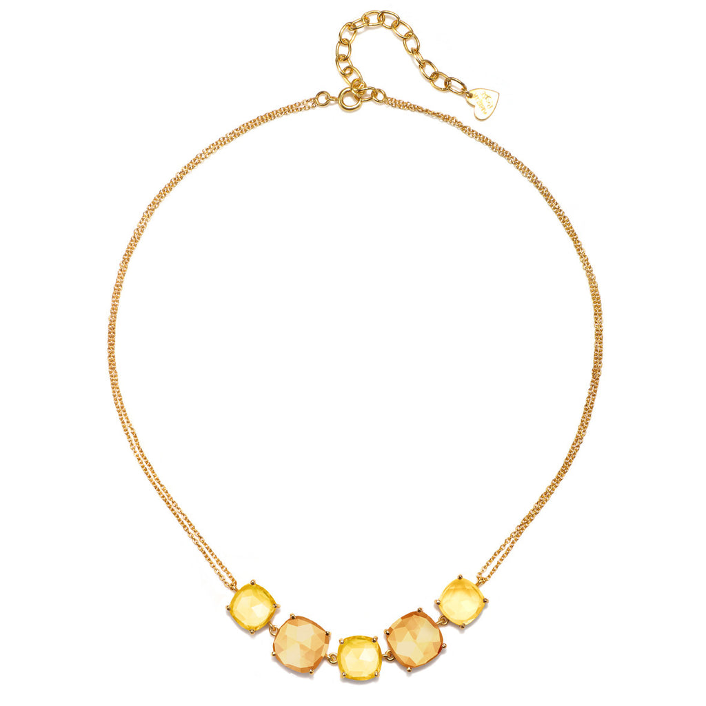 Catalina 5 Cushion Necklace-Citrine Sunflower Gold