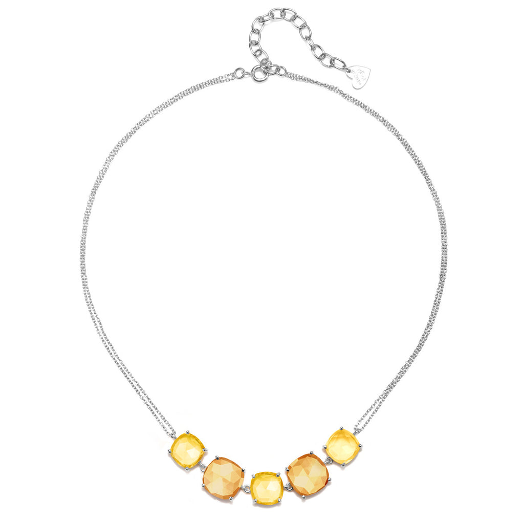 Catalina 5 Cushion Necklace-Citrine Sunflower Silver