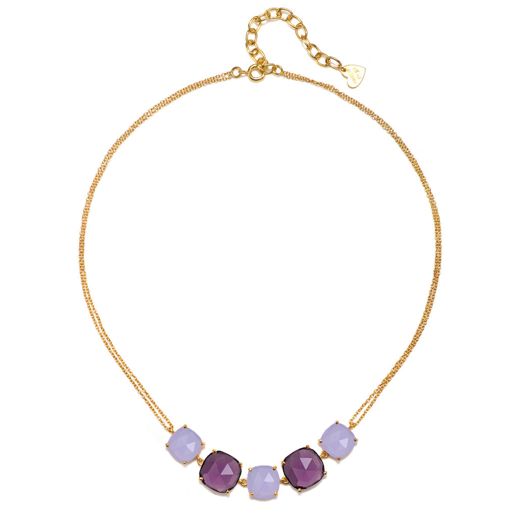 Catalina 5 Cushion Necklace-Light Purple Gold
