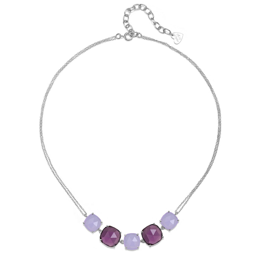 Catalina 5 Cushion Necklace-Light Purple Silver