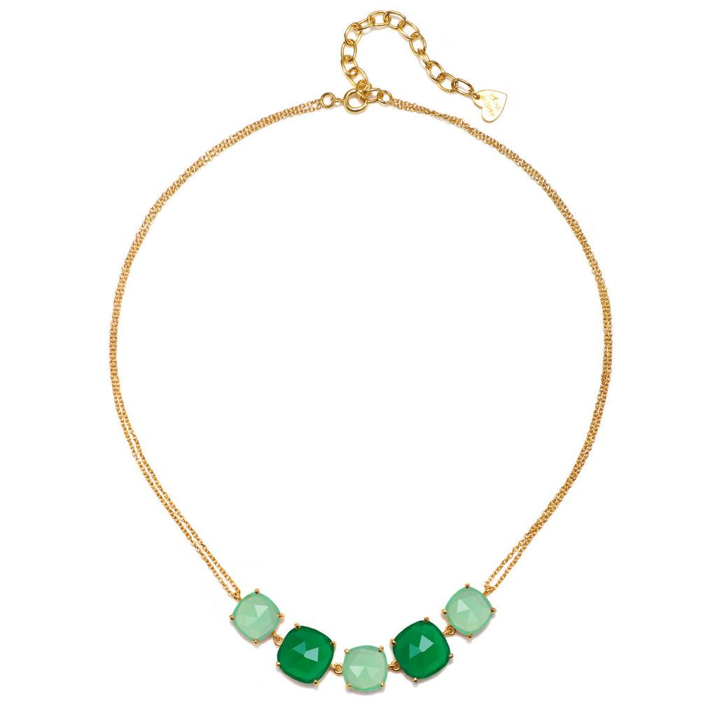 Catalina 5 Cushion Necklace-Mint Moss Gold