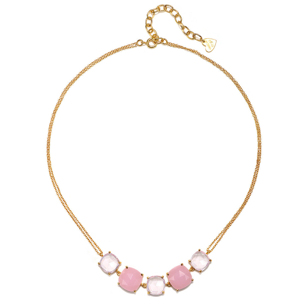 Catalina 5 Cushion Necklace-Pink Peony Gold