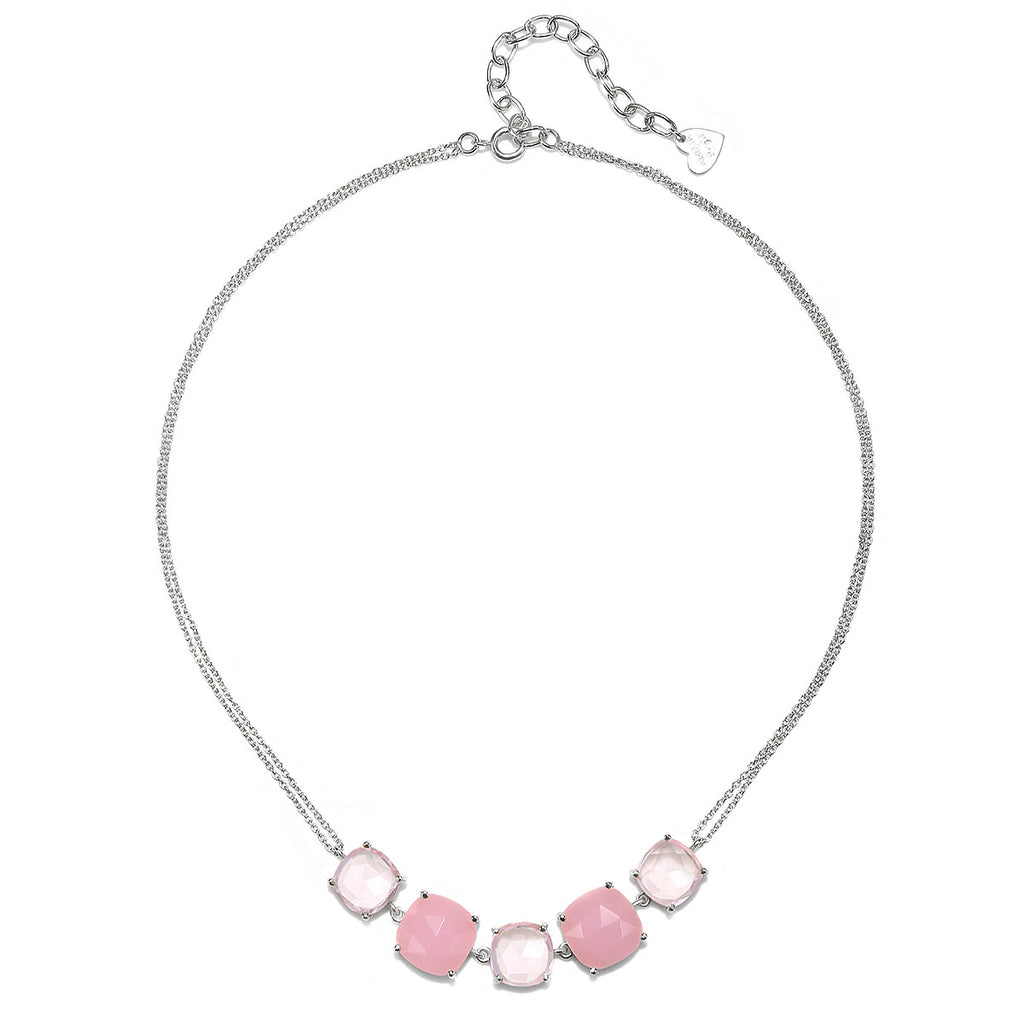 Catalina 5 Cushion Necklace-Pink Peony Silver