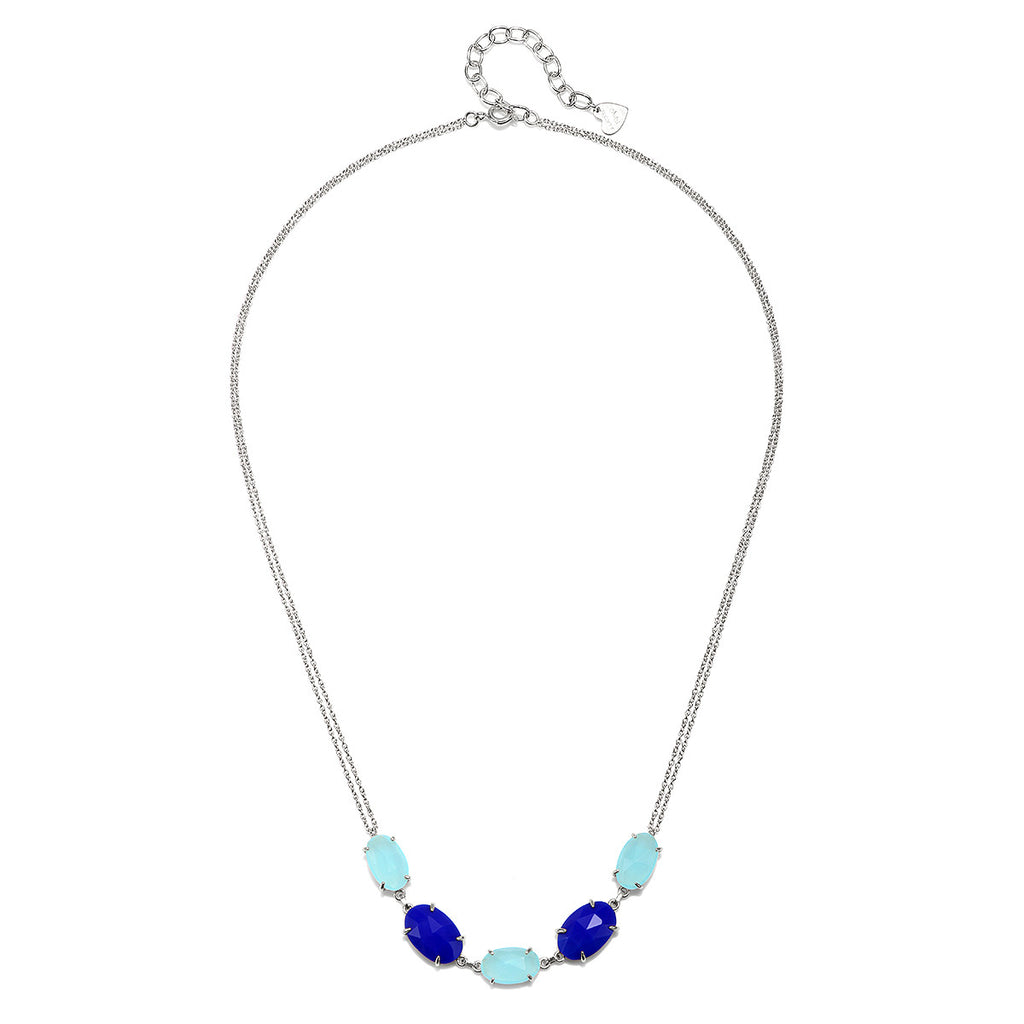 Catalina 5 Oval Necklace-Aqua & Blue Chalcedony Silver