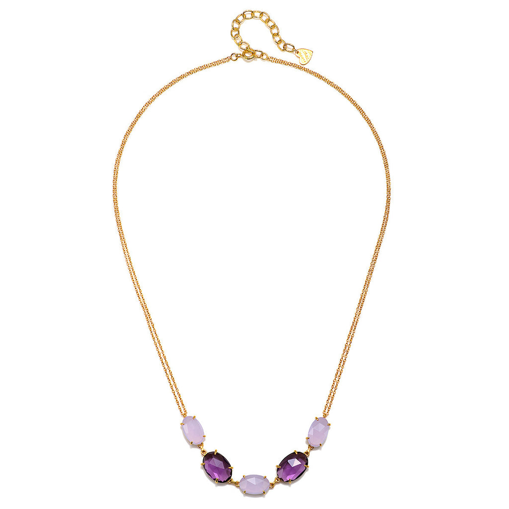Catalina 5 Oval Necklace-Light Purple Gold