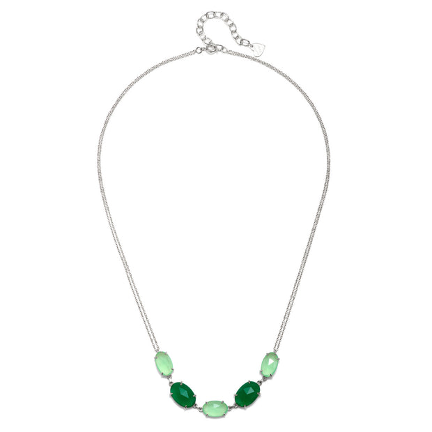 Catalina 5 Oval Necklace-Mint Moss Silver