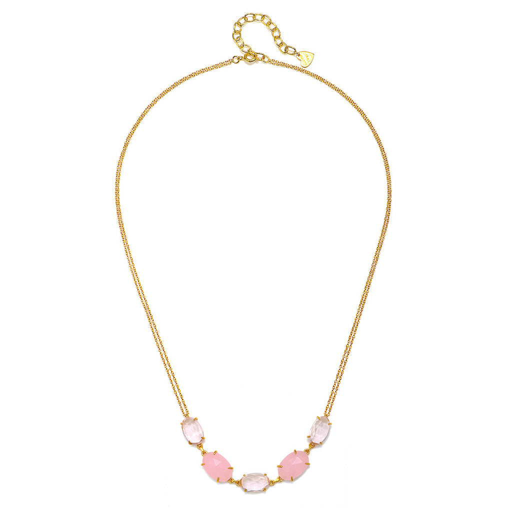 Catalina 5 Oval Necklace-Pink Peony Gold
