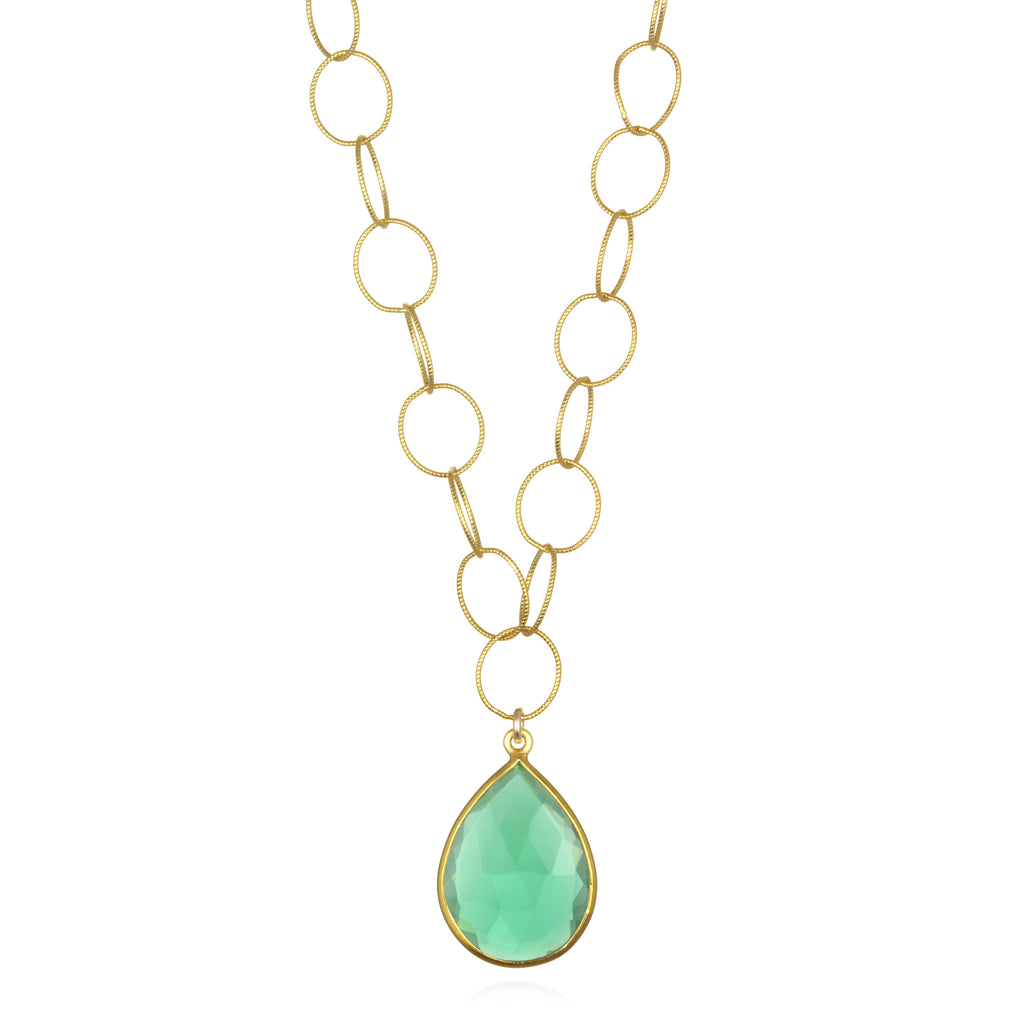 Cabo Teardrop Necklace Aqua Gold