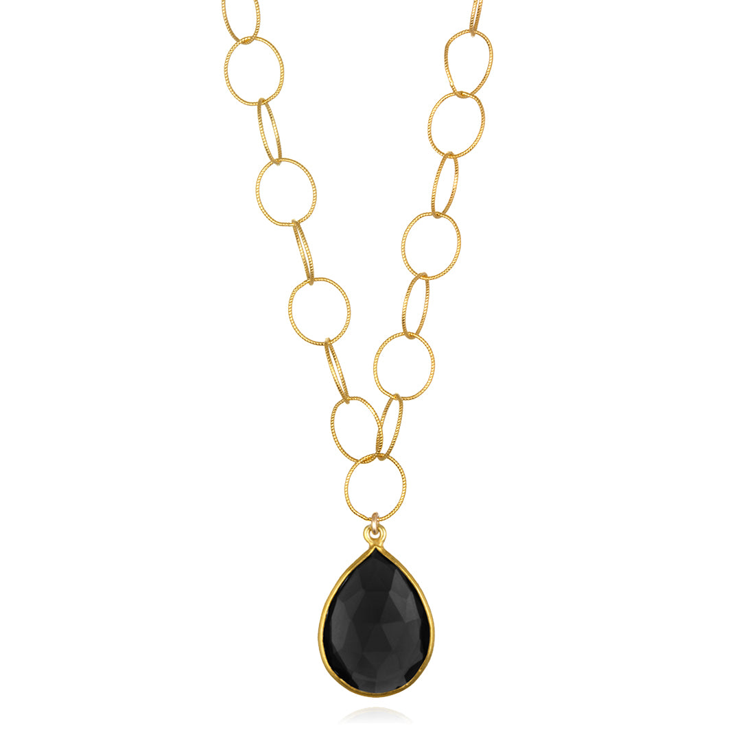 Cabo Teardrop Necklace Black Gold