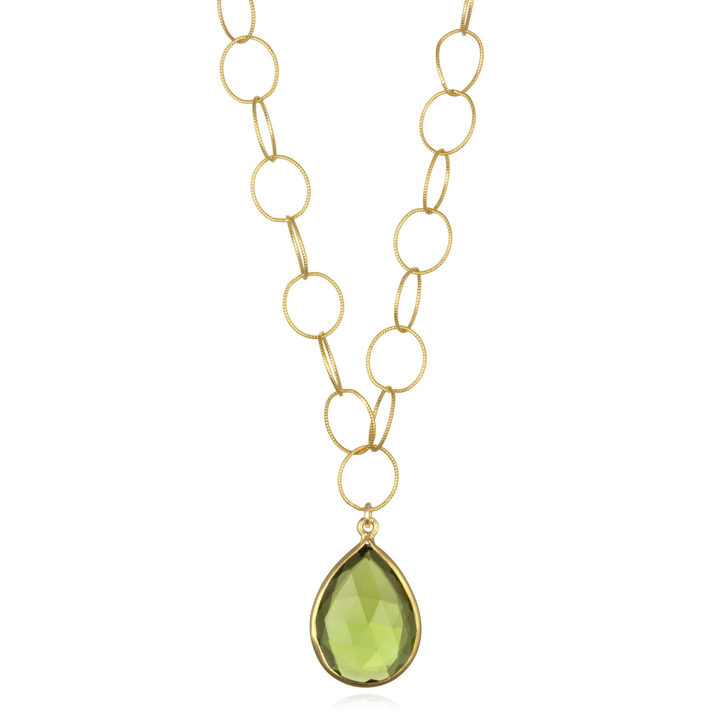 Cabo Teardrop Necklace Lime Gold