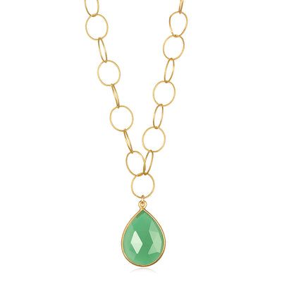 Cabo Teardrop Necklace Mint Green Gold