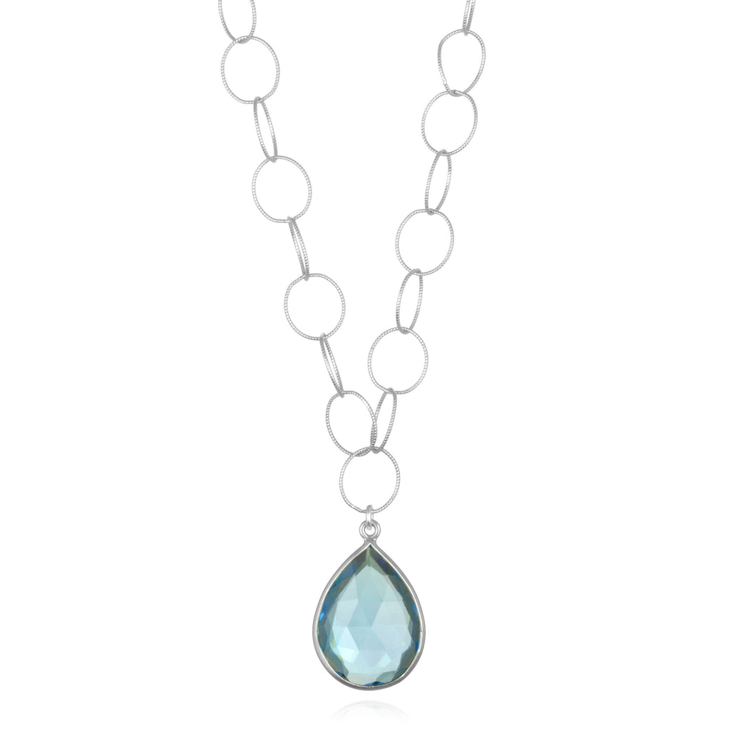 Cabo Teardrop Necklace Sky Blue Silver