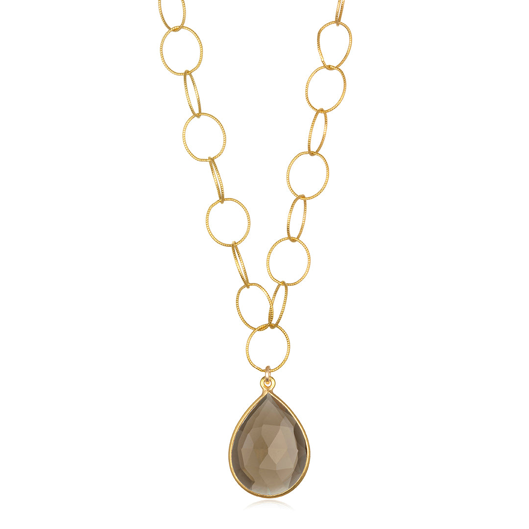 Cabo Teardrop Necklace Smoky Gold