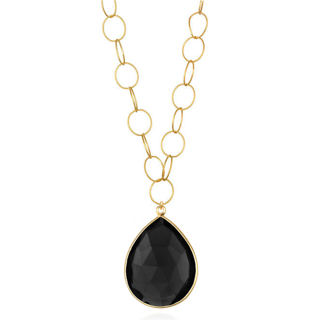 Cabo Grand Teardrop Necklace Black Gold