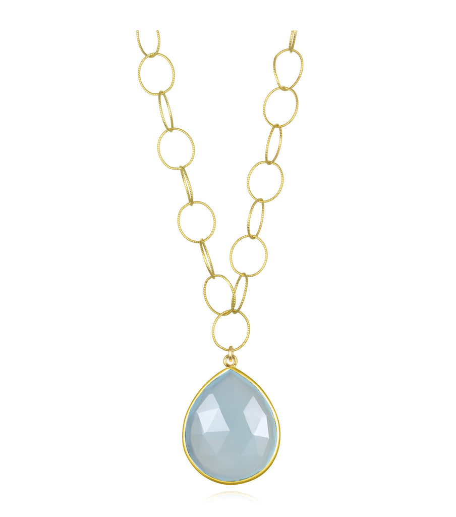 Cabo Grand Teardrop Necklace Light Chalcedony Gold