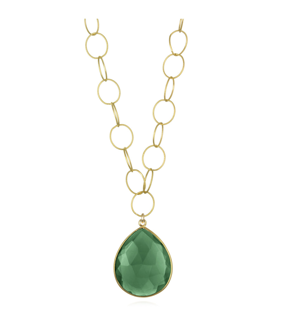 Cabo Grand Teardrop Necklace Emerald Gold