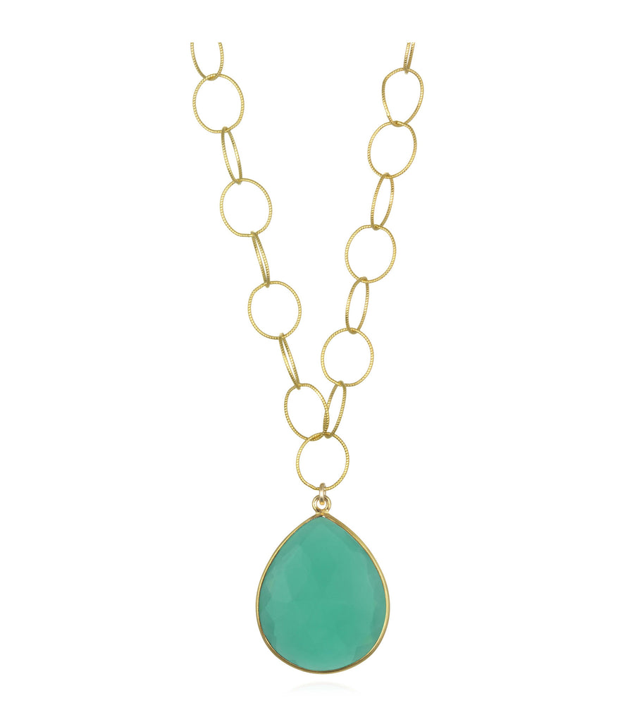 Cabo Grand Teardrop Necklace Jade Gold