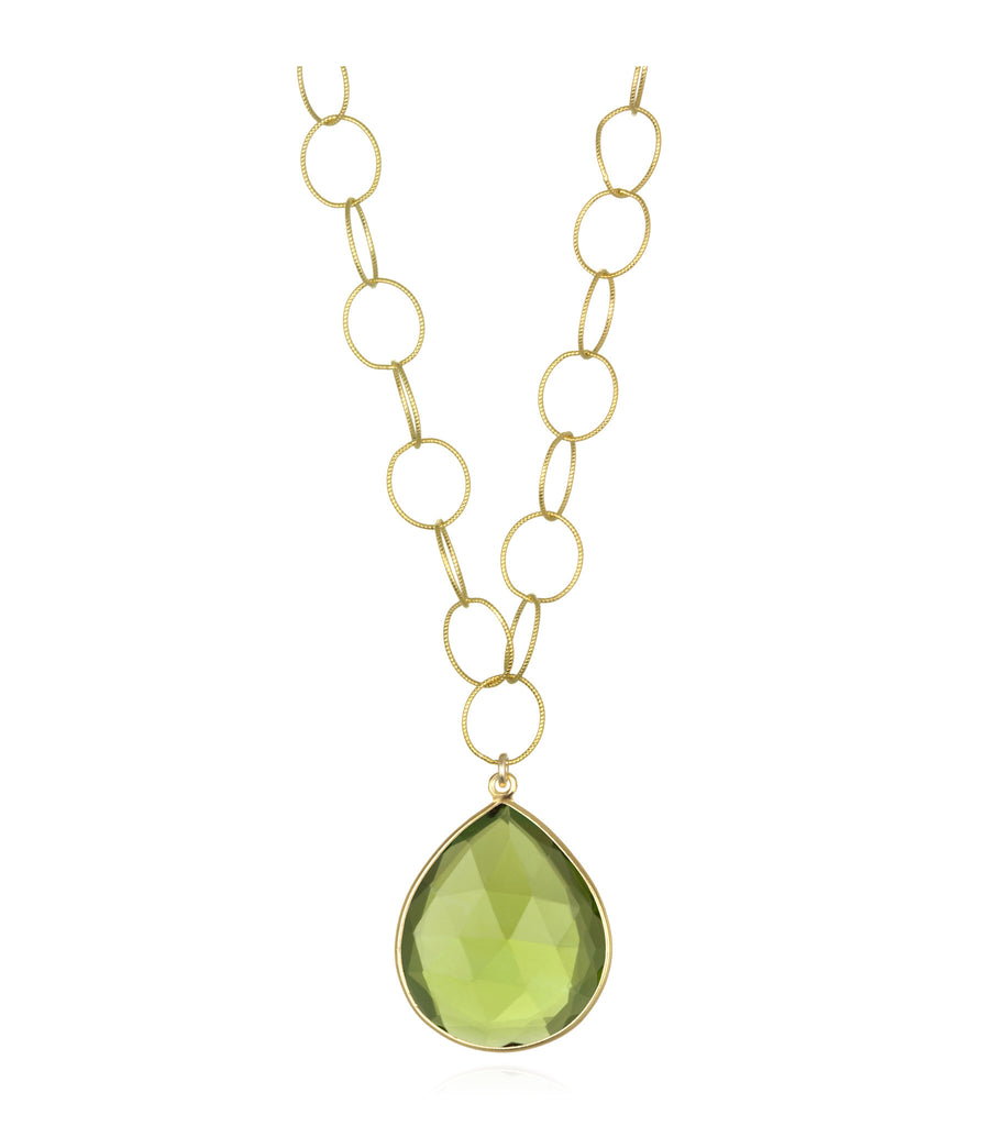 Cabo Grand Teardrop Necklace Lime Gold