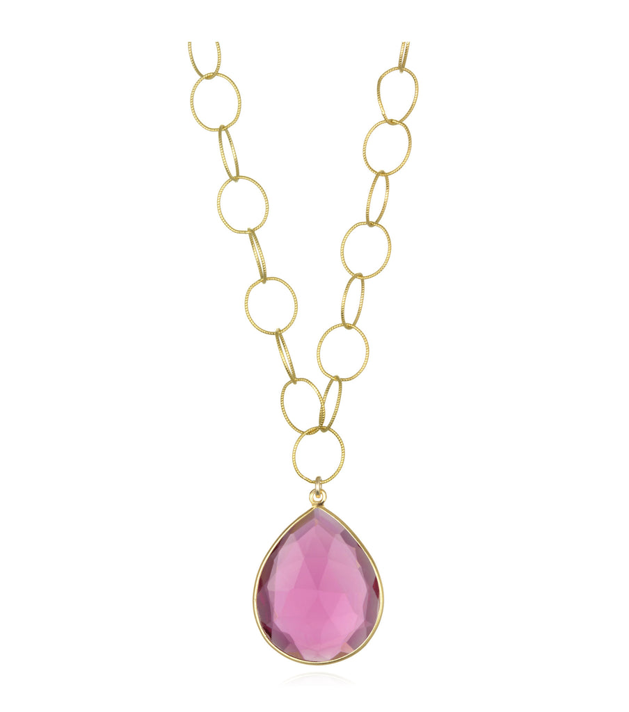Cabo Grand Teardrop Necklace Ruby Pink Gold