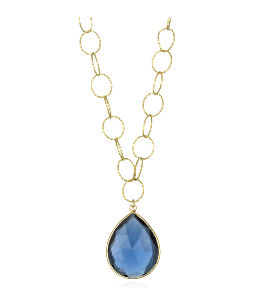 Cabo Grand Teardrop Necklace Sapphire Blue Gold