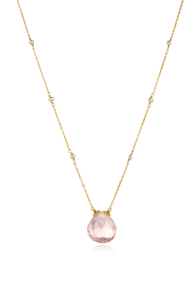 Catherine Necklace-Rose Quartz