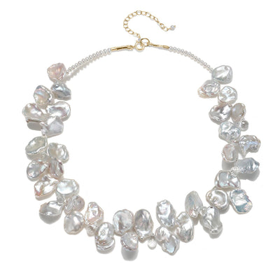 Keshi Pearl and White Topaz Necklace