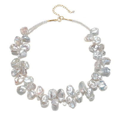 White Keshi Pearl with White Topaz Necklace Gold