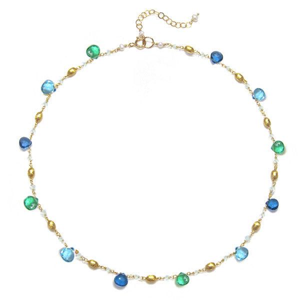 Cabo Quartz Necklace-Blue & Aqua Gold