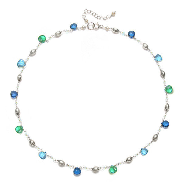 Cabo Quartz Necklace-Blue & Aqua Silver