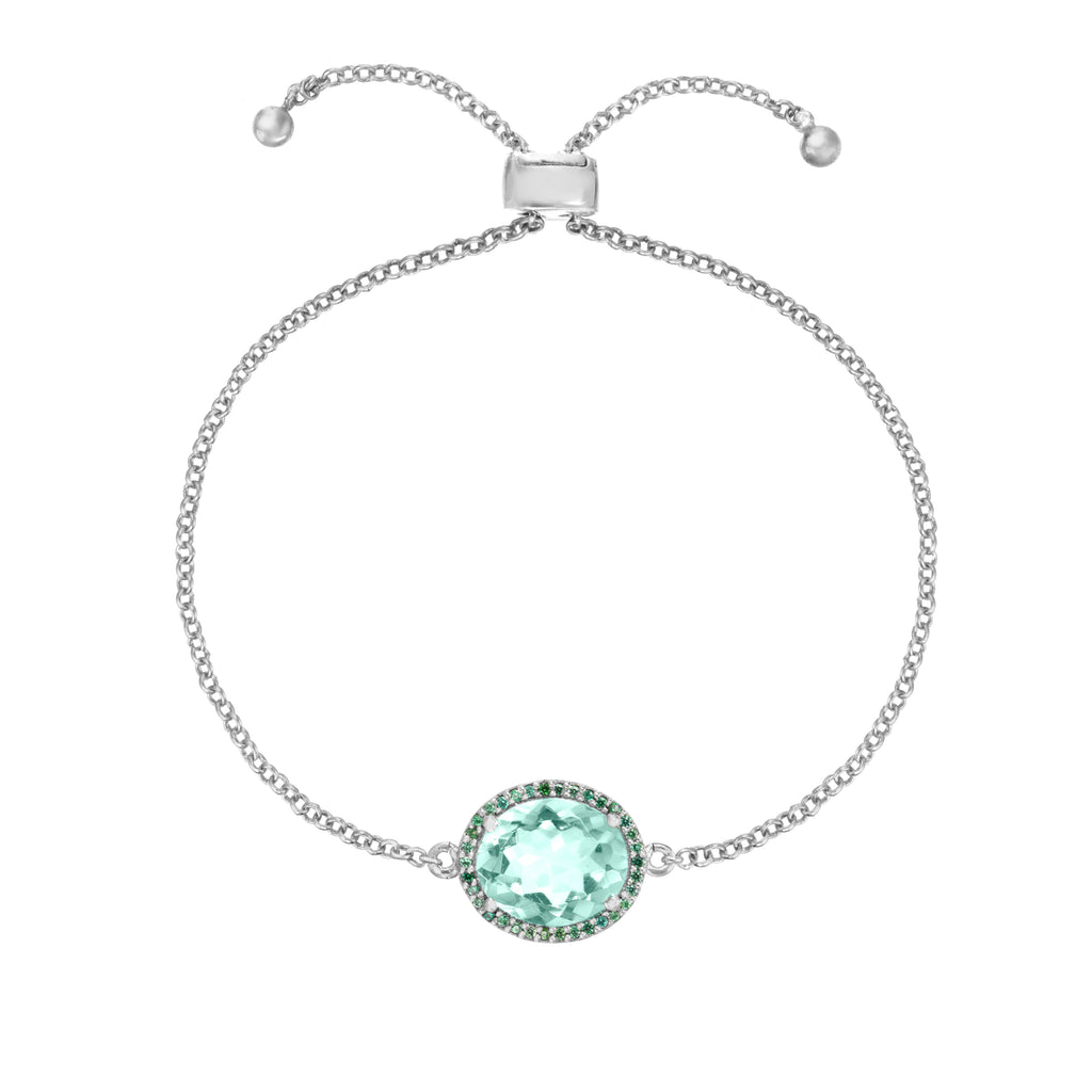 Charleston Pave Quartz Bracelet - Light Green Silver