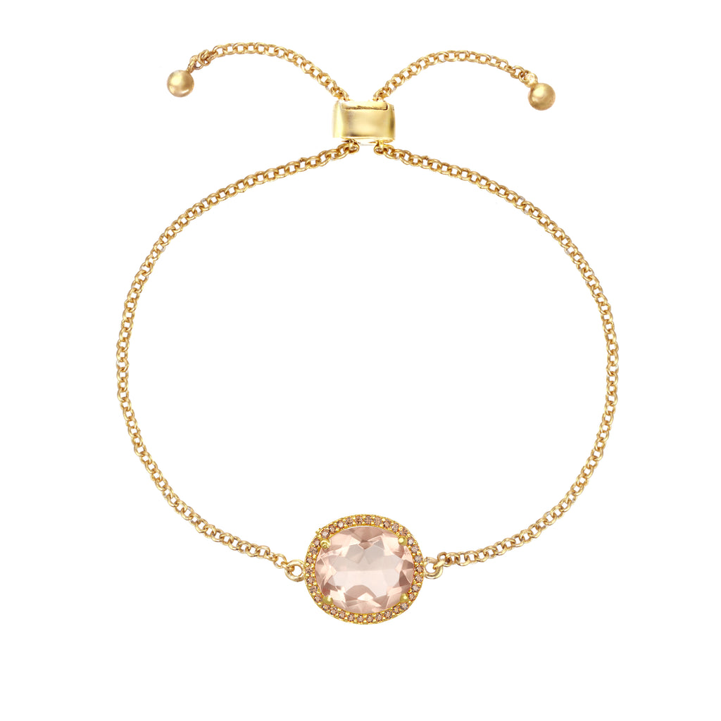 Charleston Pave Quartz Bracelet - Peach Gold