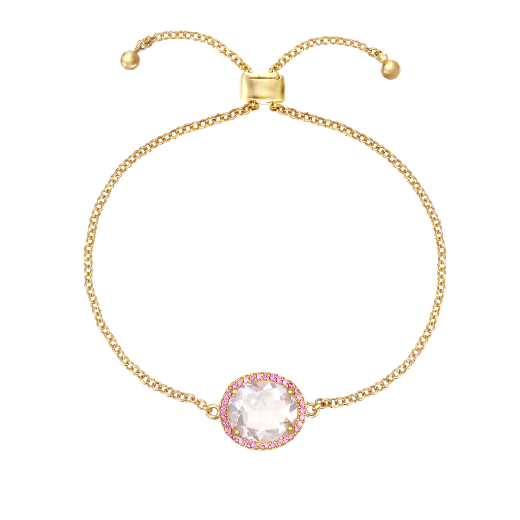 Charleston Pave Quartz Bracelet - Light Pink Gold