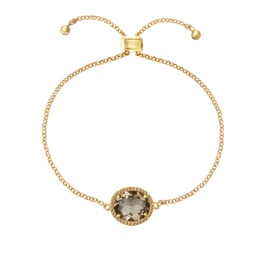 Charleston Pave Quartz Bracelet - Smoky Gold