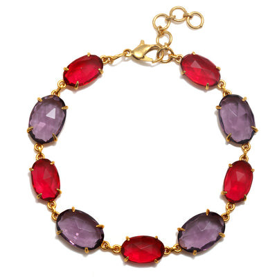 Catalina Bracelet Oval Ruby Pink and Violet Gold