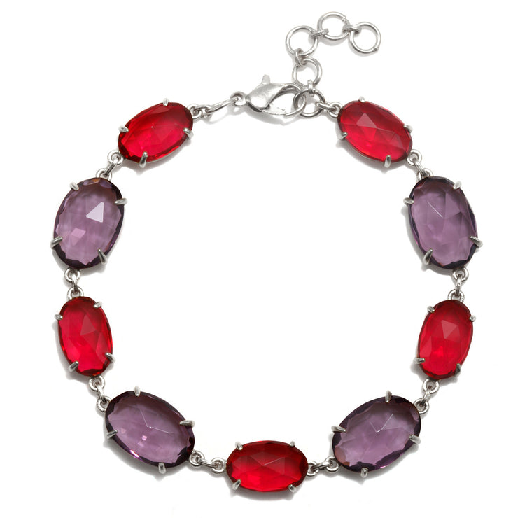 Catalina Bracelet Oval Ruby Pink and Violet Silver