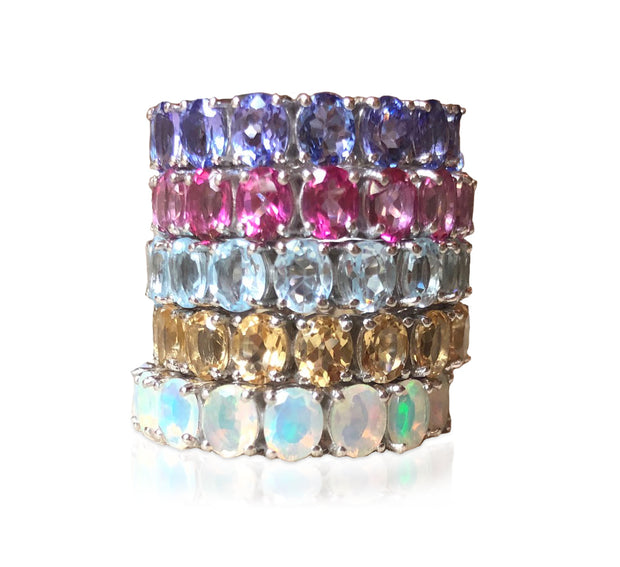 Oval Eternity Gemstone Ring