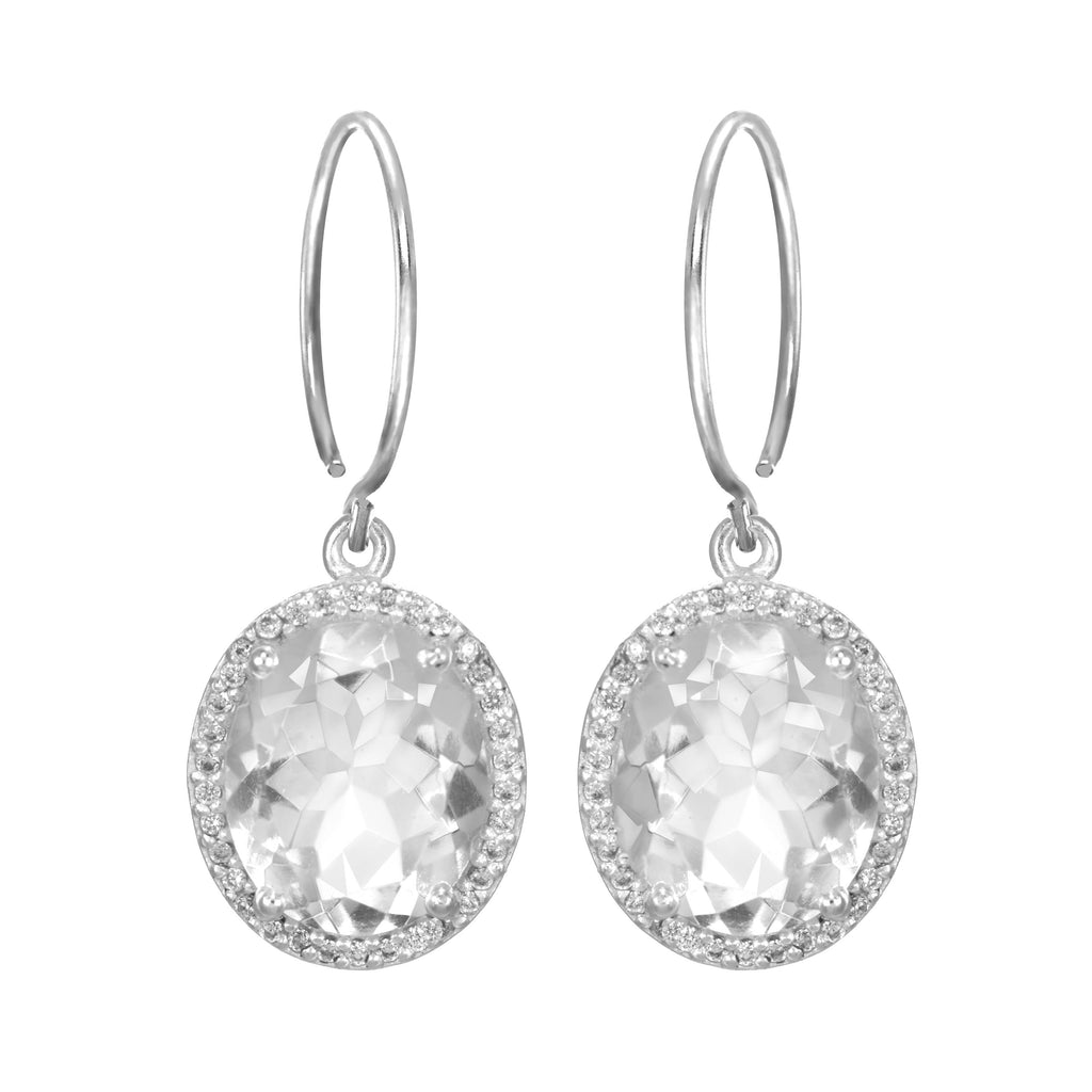 Charleston Pave Quartz Earring - Clear Silver