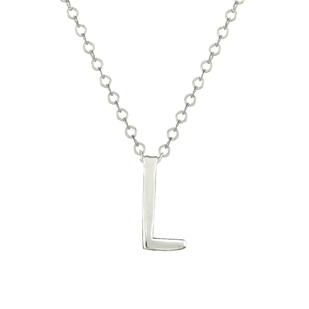 Letter Initial Necklace Silver