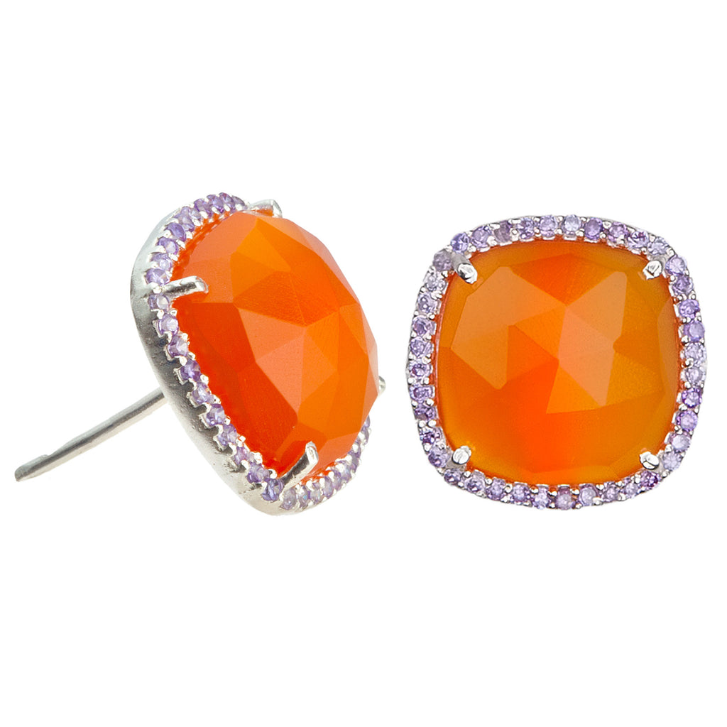 Paris Stud-Orange with Purple Silver