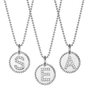 Diamond Beaded Initial Charm Necklace Silver